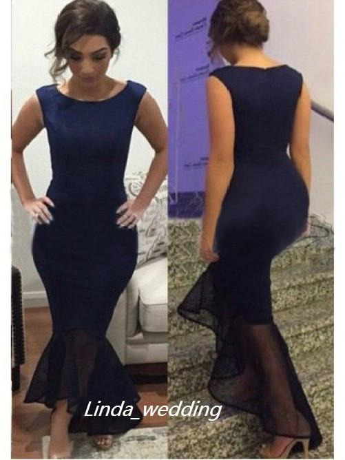 무료 배송 2019 새로운 디자인 네이비 블루 컬러 트럼펫 인어 국자 민소매 지퍼 비대칭 이브닝 드레스 여성 가운