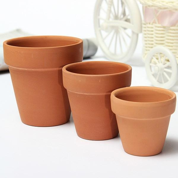 2018 3 sizes terracotta clay flower pot for small plants nursery pots succulents pots with holes. Black Bedroom Furniture Sets. Home Design Ideas