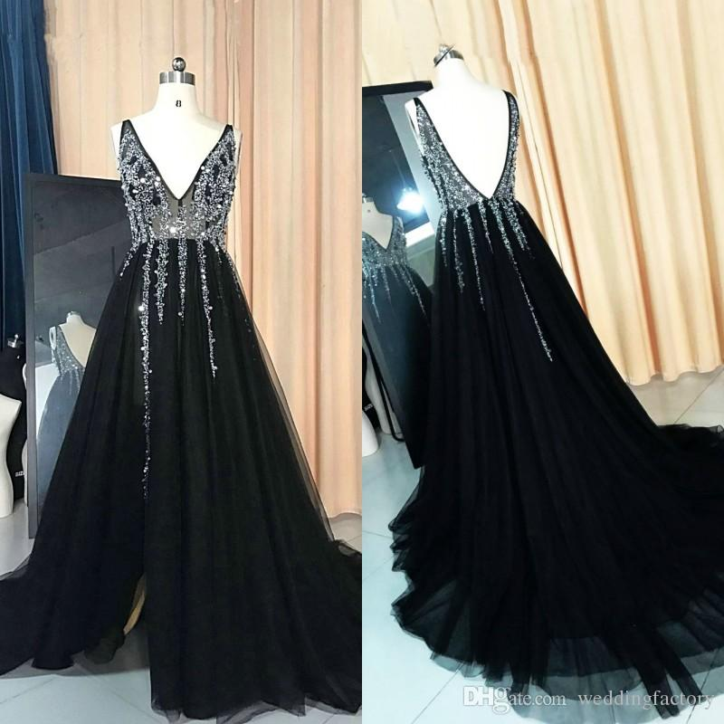 2018 Sexy Black Evening Gowns Deep V Neck Sleeveless See Through Bodice  Backless Evening Dresses Sequins Crystals Tulle Prom Party Dress Js  Boutique Evening ... 2bab59243