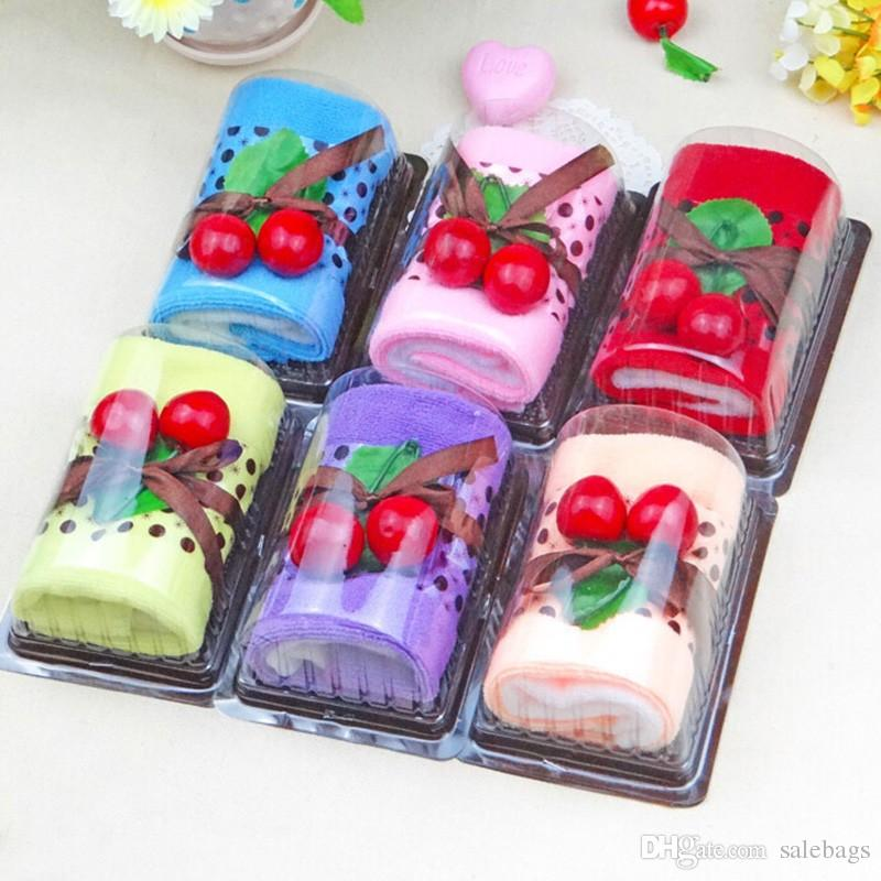 Random Color Cotton Cake Towel Swiss Roll Shape With Two Cherry Party Wedding Favors New Year Christmas Gifts For Guests Jc0130 Salebags
