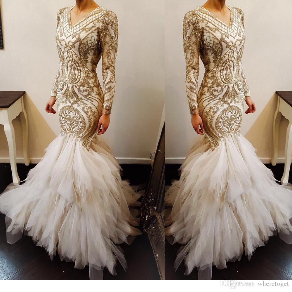 Unique design Mermaid long sleeves Wedding Dresses 2018 luxury beaded Saudi Arab tiered skirts Muslim wedding Bridal Gown