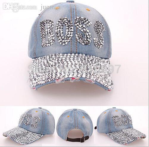 Wholesale Retail 2015 New Retail Diamond Point BOSS Letters Cowboy Denim  Caps Women Baseball Cap Rhinestone Print Men Hats Custom Hat Caps For Men  From ... dbfcf6cb209