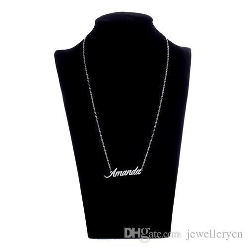 Beliebte Namen Halskette Frauen personalisierte Namensschild Halskette Buchstaben