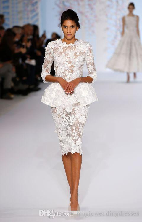 .Spring 2017 Little White Evening Dresses Long Sleeve Knee Length Short Prom Lace Floral Haute Couture Ralph & Russo Sheath Formal Gowns