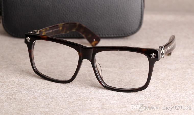 جديدة إطار النظارات الطبية كروم النظارات النظارات الإطار لإطار الرجال النساء قصر النظر نظارات عدسة واضحة مع حالة الأصلية 08
