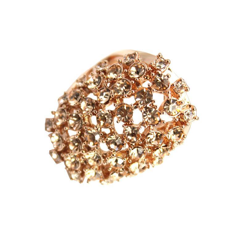 Champagne Counter Full Diamond Rose Gold Diamond Ring Big Ring