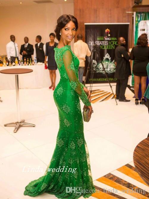 무료 배송 새로운 도착 녹색 컬러 트럼펫 인 어 공주 높은 목 긴 얇은 슬리브 Applique 바닥 길이 이브닝 드레스 여성 가운