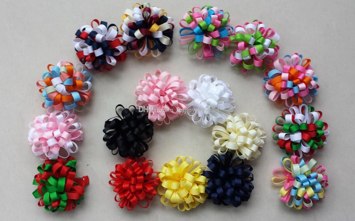 Christmas New hair accessories kids Grosgrain Ribbon boutique Xmas bows clip flower baby girls headband loopy bow HD3236