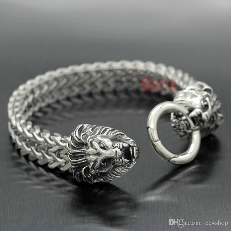Vintage 316L Stainless Steel Lion Heads Franco Cuban Chain Silver Men's Rocker Biker Bracelet