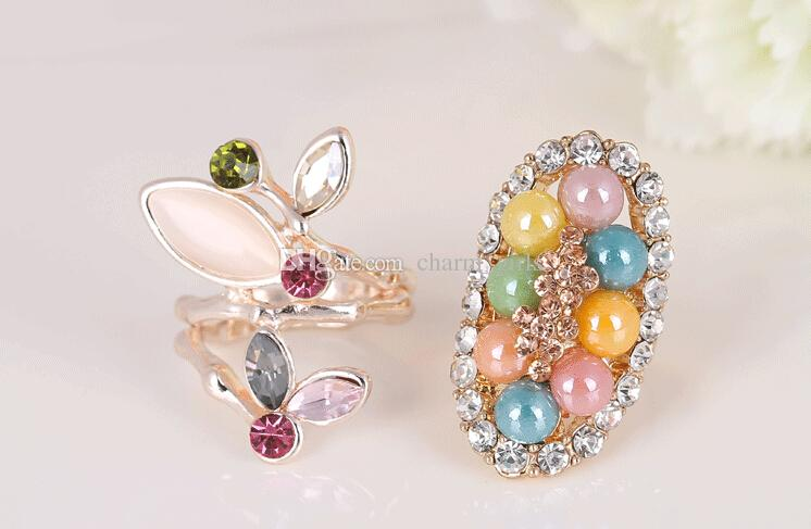 2015 Hot sales fashion woman/girl jewelry pearl crystal opals turquoise Super luxury Exaggerated atmospheric ring Mixed style