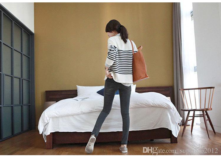 Nova Moda Feminina Longo Azul Calça Jeans Casual Denim Calças Finas Calças Lápis Jeans Stretchy