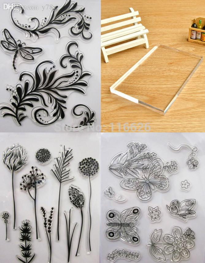 Wholesale Silicone Gel Clear Diy Stamps W Acrlic Pad Handle Rubber Seal Tree Branch Dandelion Grass For Decorating Scrapbooking Notebook Rare
