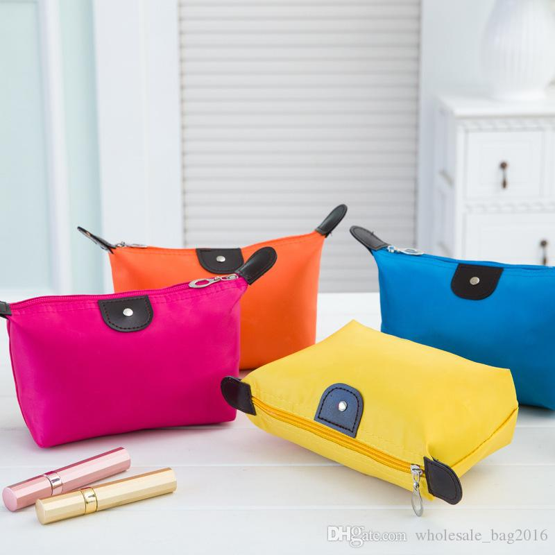Cosmetic Bags For Women MakeUp Pouch Solid Make Up Bag Clutch Hanging Toiletries Travel Kit Jewelry Organizer Holder Casual Purse Colors