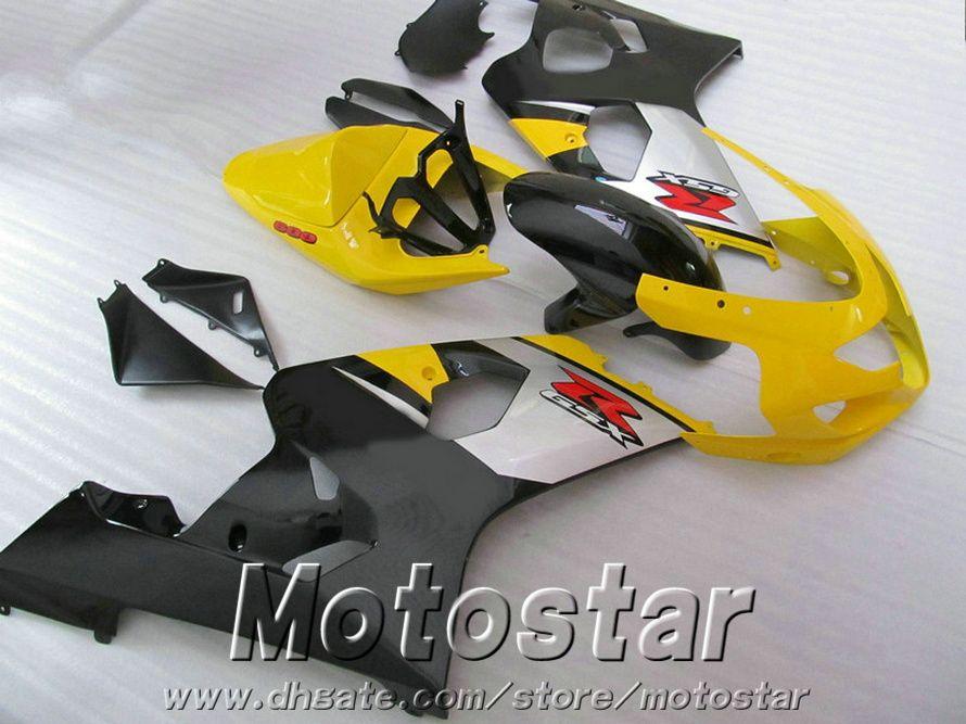 Motorcycle fairing kit for SUZUKI GSXR600 GSXR750 2004 2005 K4 bodykits GSX-R 600/750 04 05 yellow silver black fairings set QE34