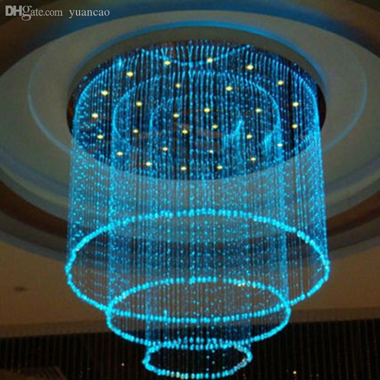 Whole Fiber 0 75 Mm Curtain Optic Chandeliers Colorful Cylindrical Multilayer Chandelier Sauna Light Sensor Night