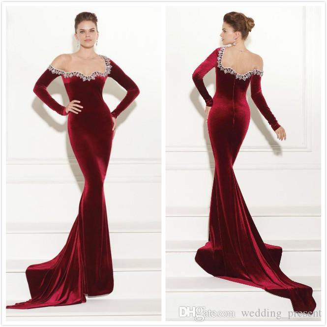 Long Sleeves Evening Gowns 2017 Dark Red Velvet Beaded Mermaid ...