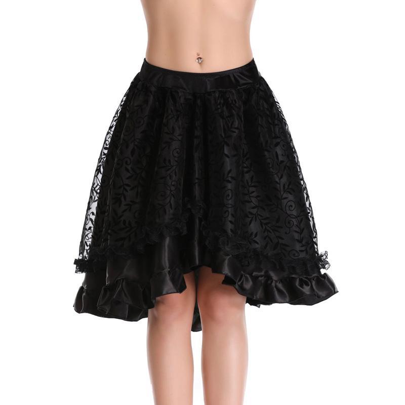 Steampunk من القوطية الأسود الزهور يتدفقون تول و منزعج الفيكتوري تنورة المرأة الجبهة قصير عودة طويل التنانير غير المتكافئة 8537