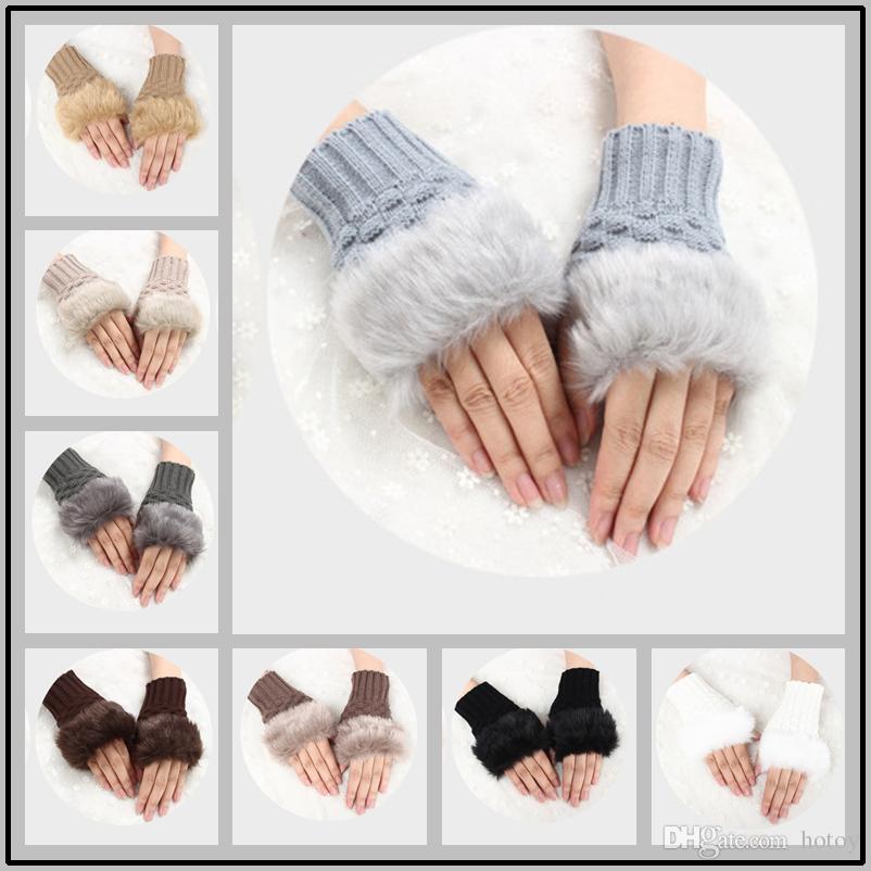 Knitted Fingerless Gloves Artificial Rabbit Fur Hand Glove Winter