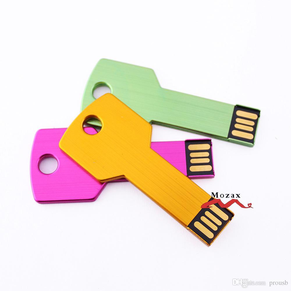 Free Customize Logo Engraving 128MB/256MB/512MB/1GB/2GB/4GB/8GB/16GB Metal Key USB Flash Drive 2.0 Memory Flash Pendrive Stick