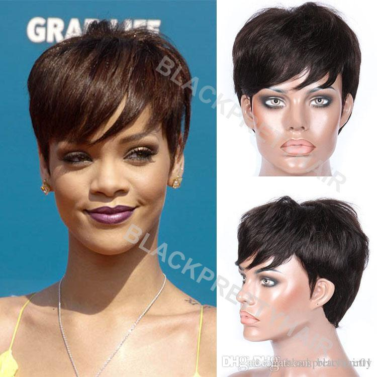 Rihanna Wig Black Brazilian Human Hair Wig Short Pixie Cut Wigs For