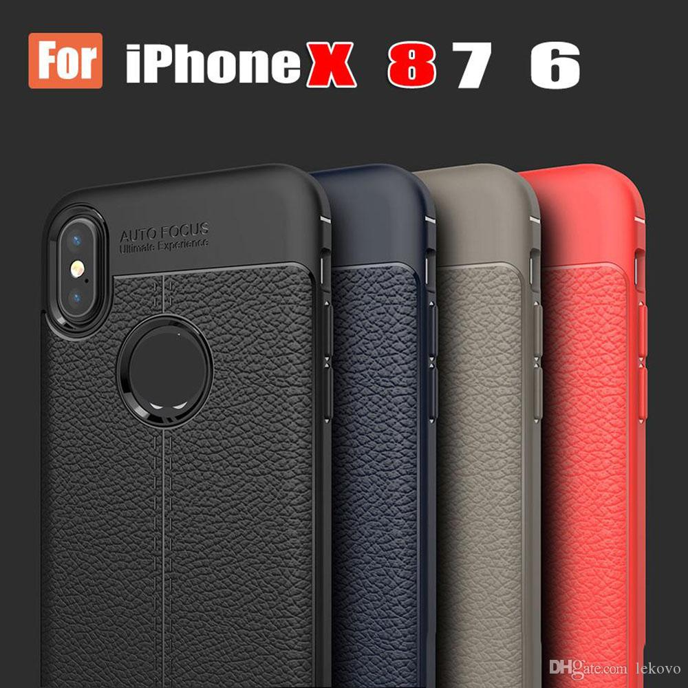 New Lycra Interlock Stitching Leather Per iPhoneX 8 plus Custodia Business 7P Full Busta con confezione da imballaggio Spedizione gratuita