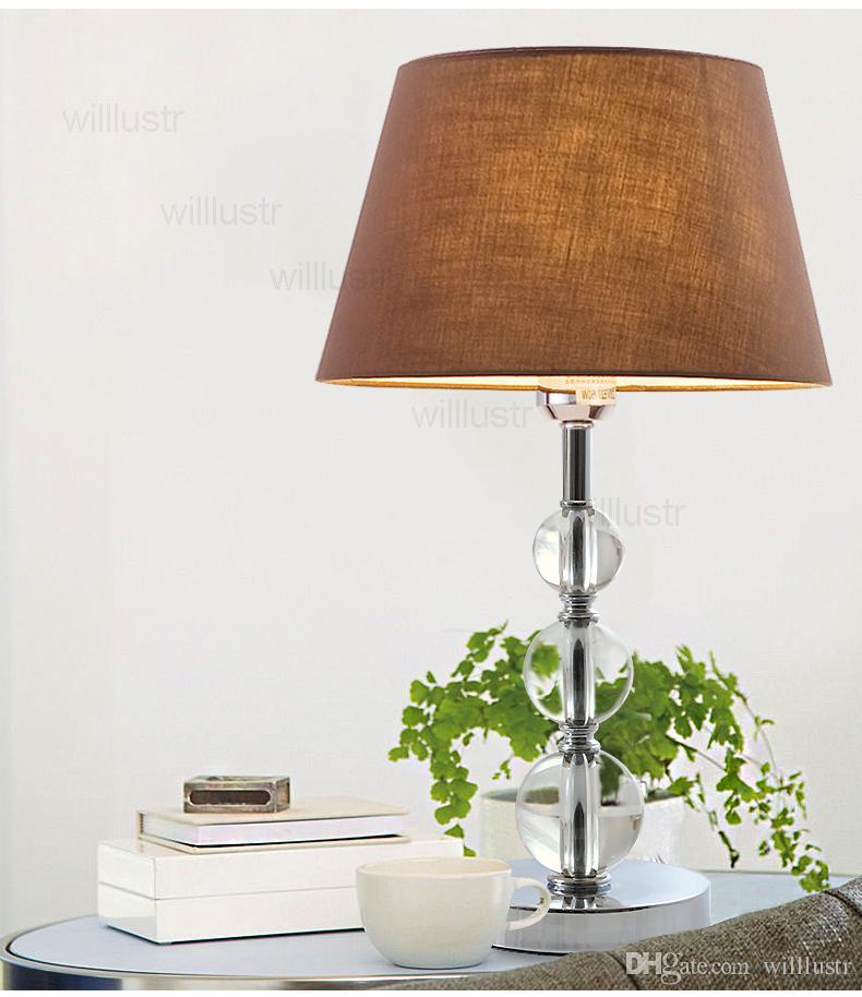 moderne kristall tischlampe weiß kaffee stickerei stoff schatten chrom leuchte schreibtisch licht wohnzimmer nacht foyer schlafzimmer licht tischlampe