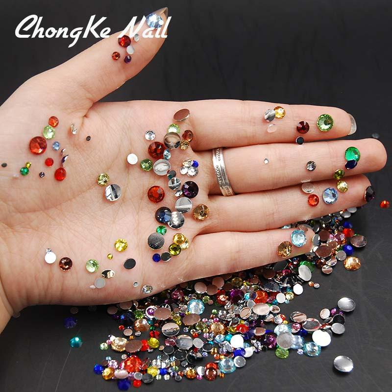 Wholesale /Pack Mixed Sizes Mixed Colors Flat Back Acrylic ...