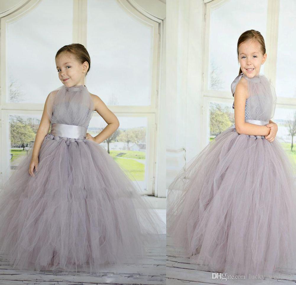 Light Grey Ball Gown Flower Girl Dresses For Wedding A Line Halter