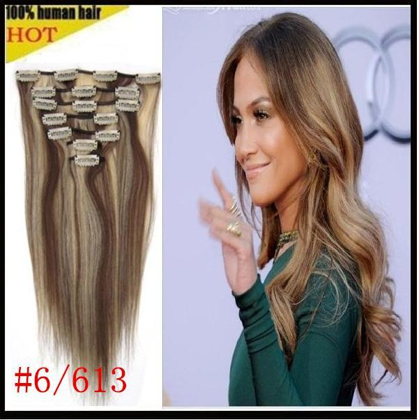 16 18 20 22 26clip In Remy Hair Extensions Virgin Human Hair 70gfull