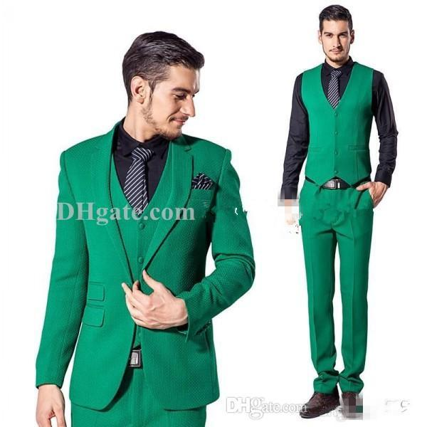 High Quality One Button Green Groom Tuxedos Notch Lapel Groomsmen ...