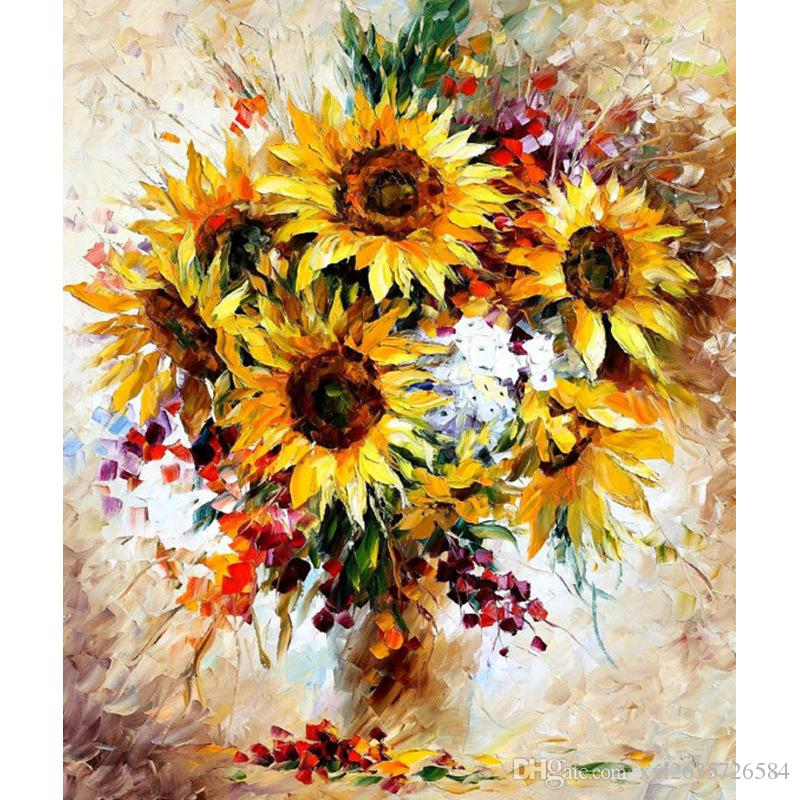 Yellow Sunflower Diy Digital Painting By Numbers Acrylic Picture ...