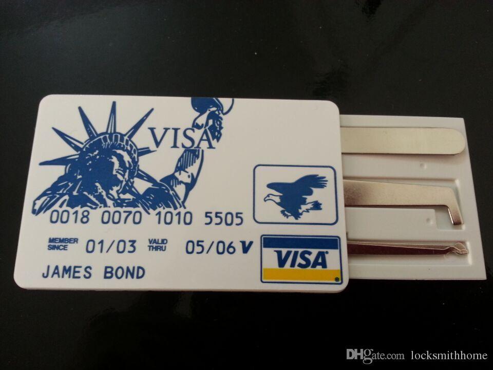 제임스 본드 바늘 신용 카드 잠금 선택 세트 자물쇠 도구 잠금 선택 미니 도구 자물쇠 도구