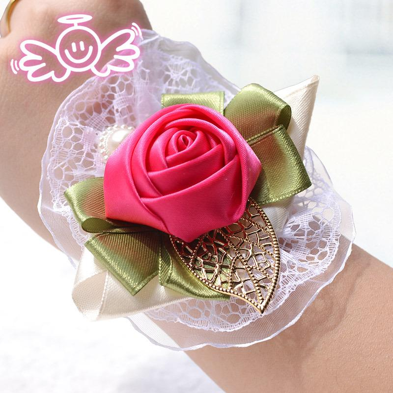 2015 Wedding Corsage Hand Flower Red Silk Roze Pols Corsages In ...