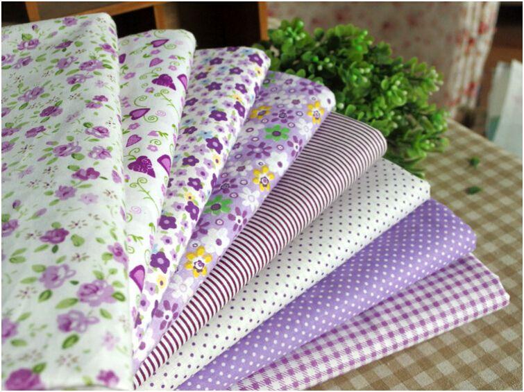 8Pcs 45x45cm Purple Floral/Dot/Strip/Grid Mix Print 100% Cotton Fabric for  Sewing,Doll Cloth Patchwork Fabrics,Bedding,Tilda