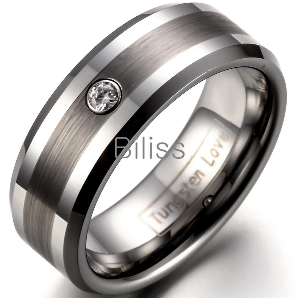 8mm Comfort Fit Tungsten Carbide Ring For Men Wedding Bands Ring ...