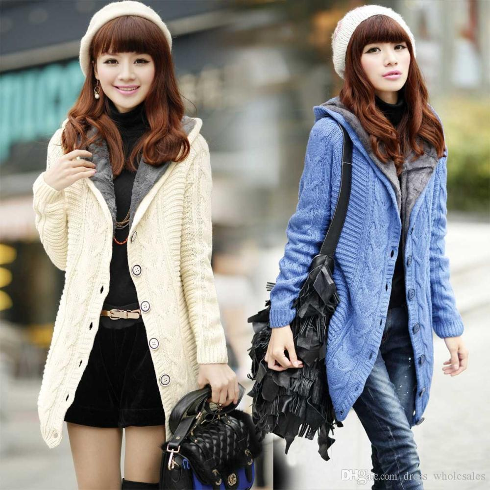 d9c82291e724 2014 New Winter Fashion Women Sweater Plus Thick Velvet Jacket Girls Casual  Warm Long Cardigan Sweater Korean Version Coat Canada 2019 From  Dress_wholesales ...