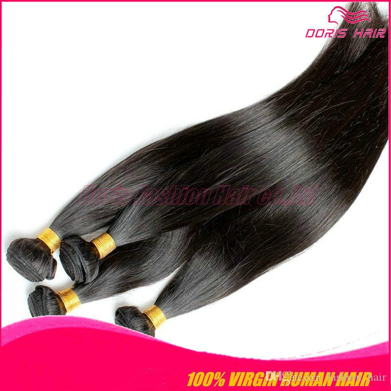 7A Best Quality remy Hair Brazilian silky straight 4 Bundles tangle free shedding free silky Straight vrigin remy Human Hair weaves free DHL