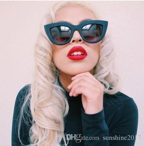 Moda Trendy Kedi Göz Güneş Gözlüğü kadın 2018 Marka Tasarımcı temizle Güneş gözlükleri kırmızı Kadın ayna noktaları óculos feminino sol lunette femme
