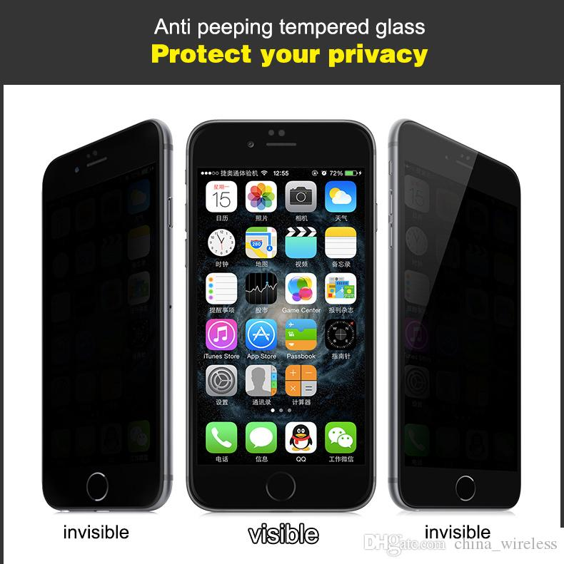 For Samsung Galaxy S3 S4 S5 S6 Note 2 3 4 Anti-spy Privacy Tempered Glass Screen Protector For iphone 4 5 6 Plus Film