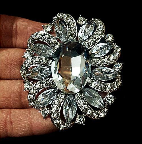 2.6 Inch Vintage Style Rhodium Silver Tone Clear Large Glass Stone and Rhinestone Crystal Wedding Brooch