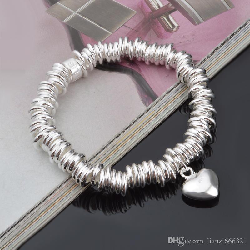 Livraison gratuite avec numéro de suivi Top Vente 925 Bracelet Bague Dense avec coeur Bracelet Bijoux en argent / pas cher 1804