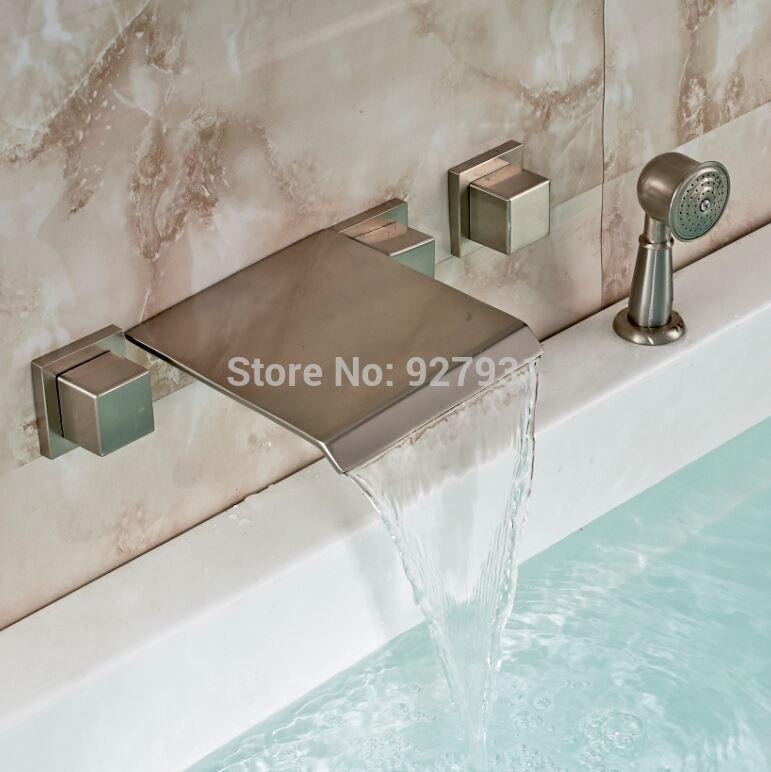 Unique Design Bathroom Wall Mounted Bathtub Mixer Taps 5pcs Waterfall Spout  Bath Tub Faucet Sets 072222