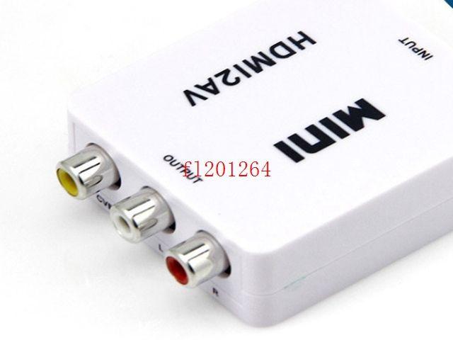 DHL Ücretsiz Nakliye HDMI2AV 1080 P HD Video Adaptörü mini HDMI AV Dönüştürücü CVBS + L / R HDMI RCA, 20 adet / grup