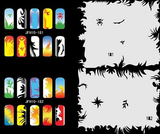 2015 Colorful Unit10 Design Airbrush Nail Stencil Sheet For Airbrush