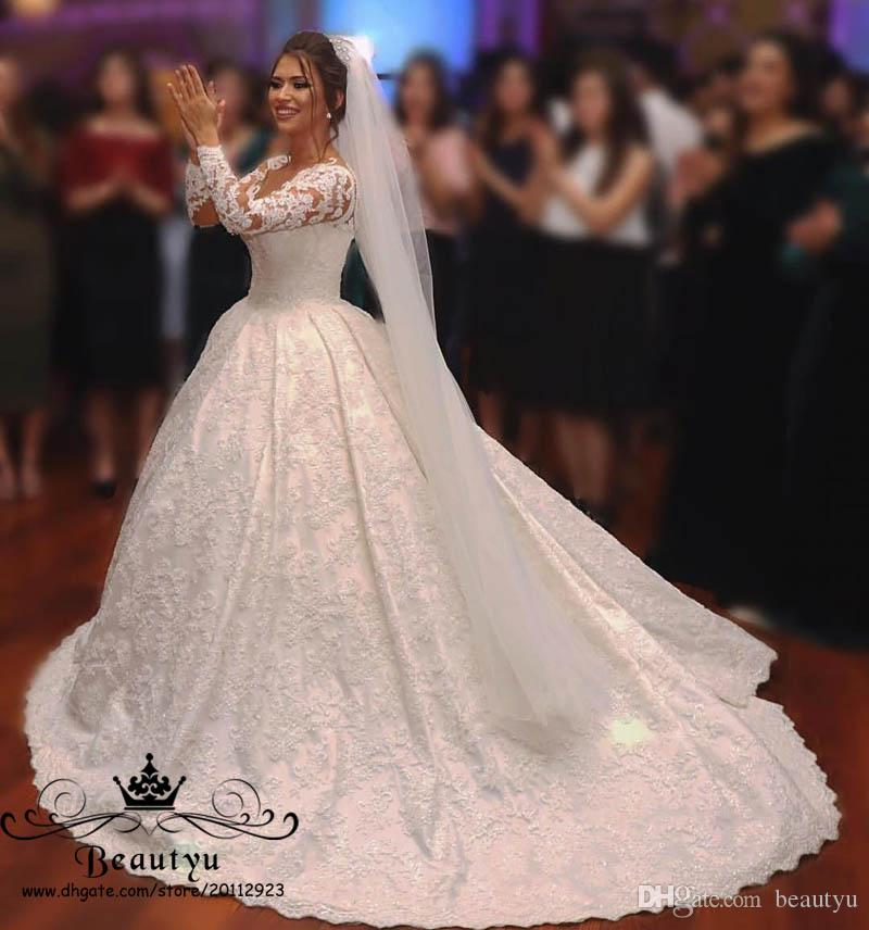 Long Sleeve Lace Ball Gown Wedding Dresses From China Illusion Sheer Neck Corset Plus Size Modest Bridal Gowns 2018 Arabic Vestido De Novia