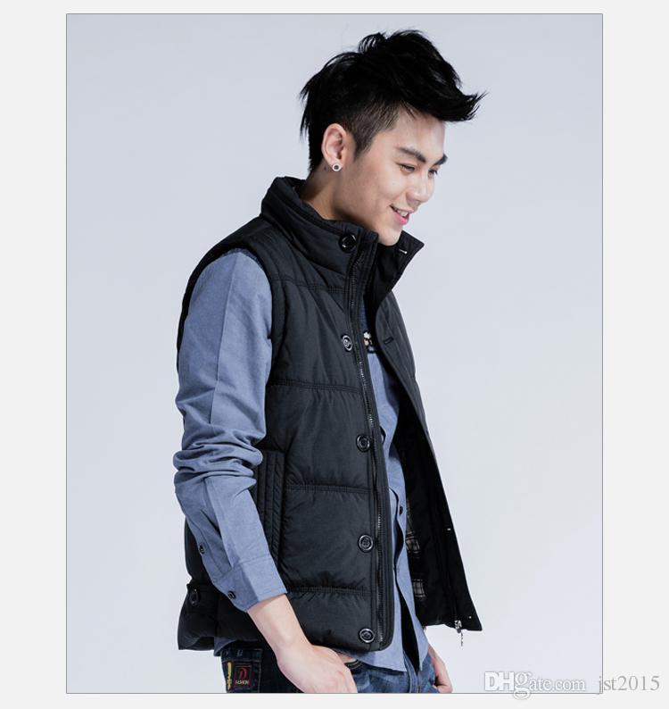 Al por mayor-otoño invierno chaleco caliente para hombre casual delgado chaleco sin mangas chaqueta masculina chaleco negro / de color caqui