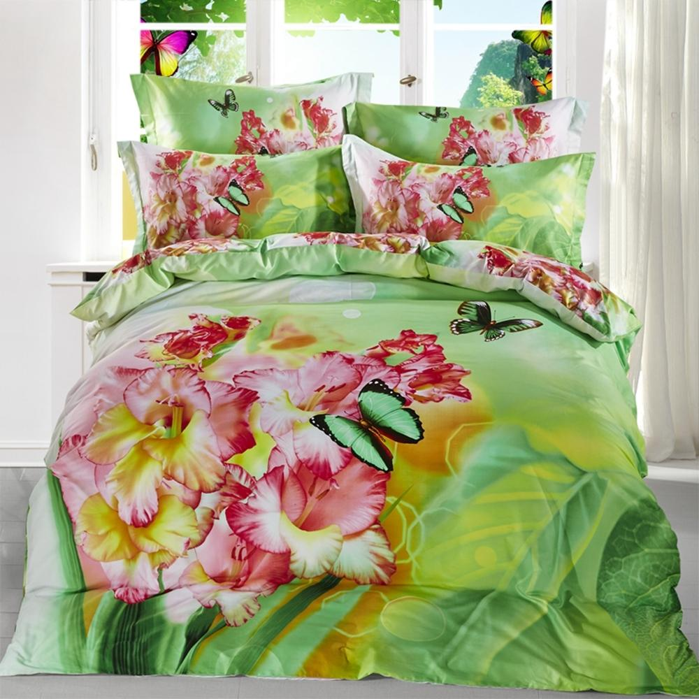 Green Flowers Duvet Cover Set 100 Cotton 3d Bedding Sets For Home