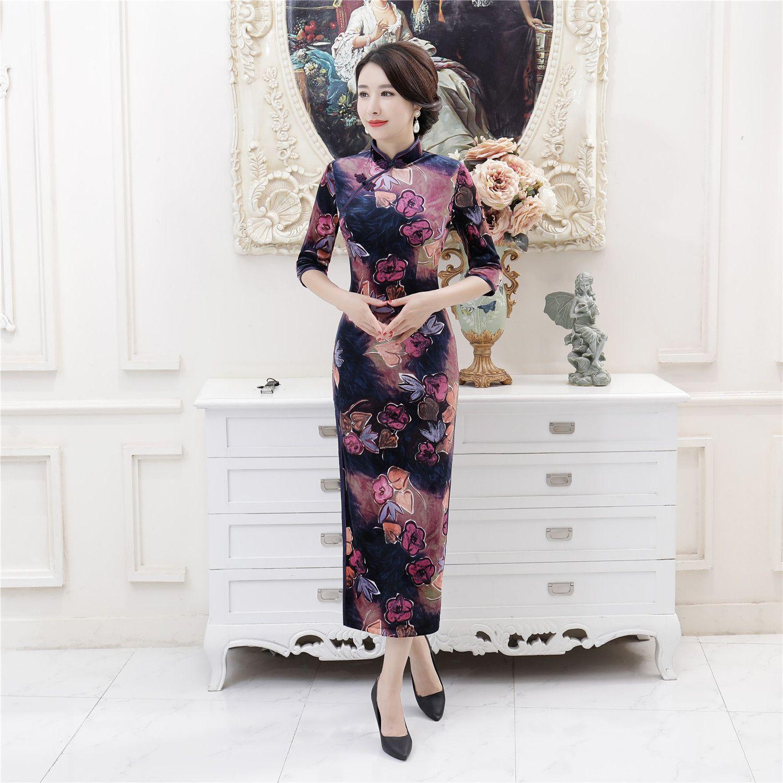 Xangai história veludo Qipao chinês tradicional vestido 3/4 manga longa cheongsam vestido chinês Oriental vestido