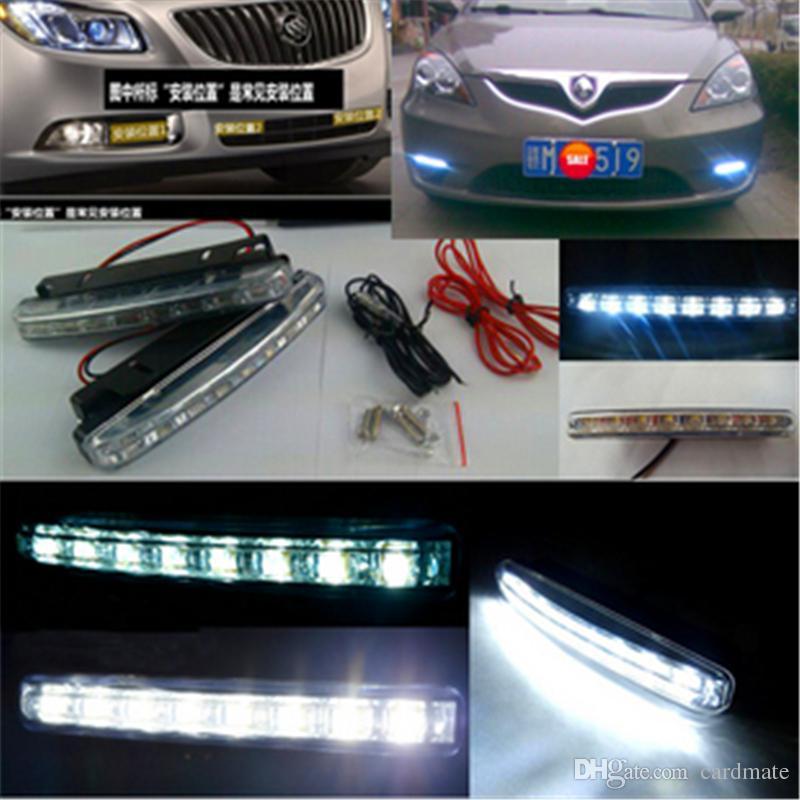 Sıcak Satış 8 LED Evrensel Araba Işık DRL Gündüz Koşu Kafa Lambası Süper Beyaz 2 adet / grup Ücretsiz Kargo
