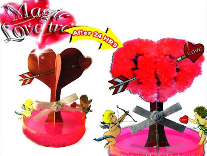 IWISH IWSD-10 NIEUWE VISUAL 2017 7x7cm DIY Rood Big Magic Groeiende Papier Love Tree Kit Magisch Grow Bomen Christmas Kinderspeelgoed voor kinderen 2 stks